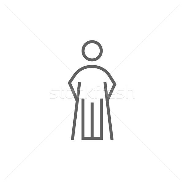 Férfi mankók vonal ikon sarkok háló Stock fotó © RAStudio