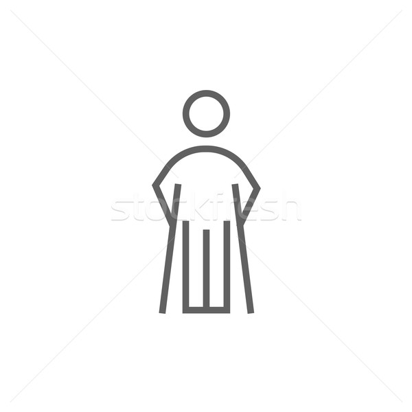 Hombre muletas línea icono esquinas web Foto stock © RAStudio