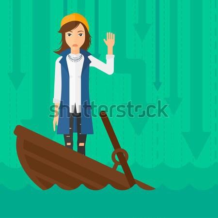 Stock fotó: üzletasszony · áll · süllyed · csónak · ázsiai · kérdez