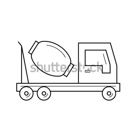 Concrètes mixeur camion ligne icône Photo stock © RAStudio