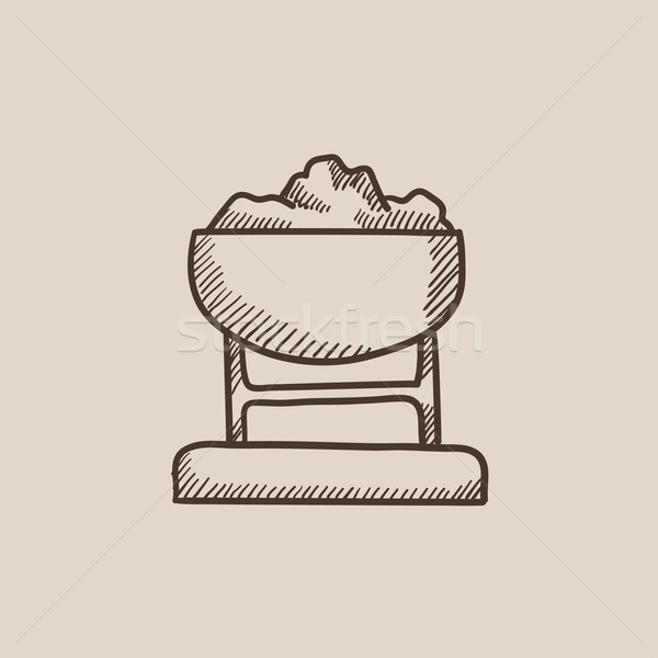 Mine trolley full of coal sketch icon. Stock photo © RAStudio