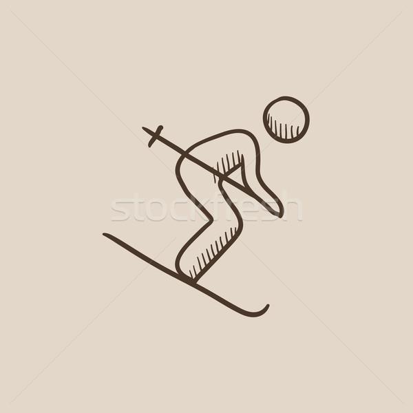Downhill skiing sketch icon. Stock photo © RAStudio