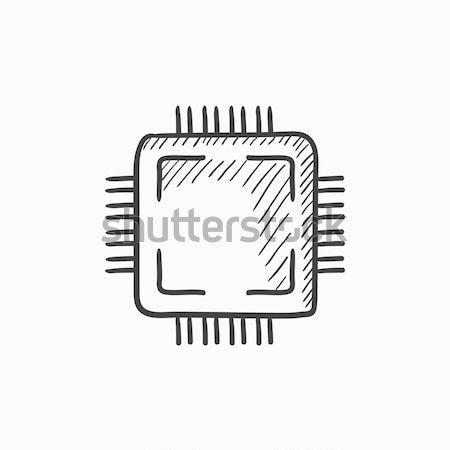 процессор эскиз икона веб мобильных Инфографика Сток-фото © RAStudio