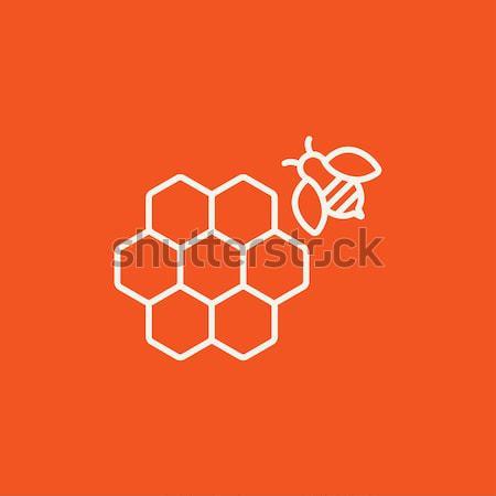 соты Bee линия икона уголки веб Сток-фото © RAStudio