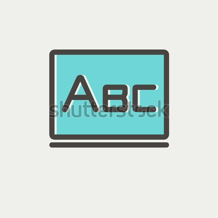 Letters abc on blackboard line icon. Stock photo © RAStudio
