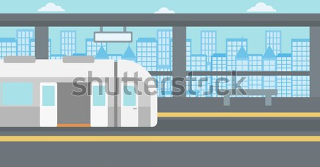 Background of modern train at the station. Stock photo © RAStudio