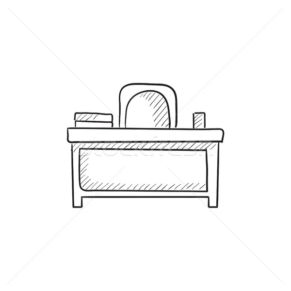 Desk and chair sketch icon. Stock photo © RAStudio