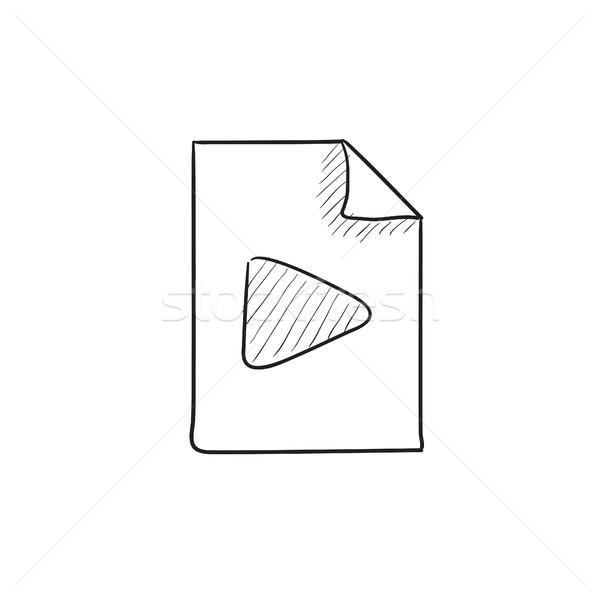 аудио файла эскиз икона вектора изолированный Сток-фото © RAStudio