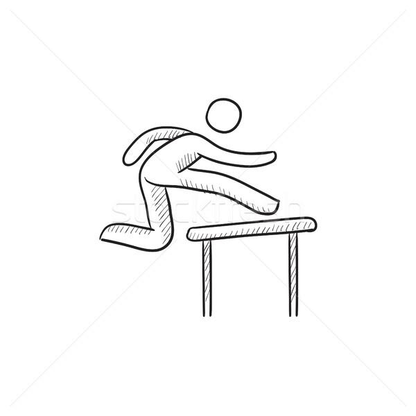 Man running over barrier sketch icon. Stock photo © RAStudio