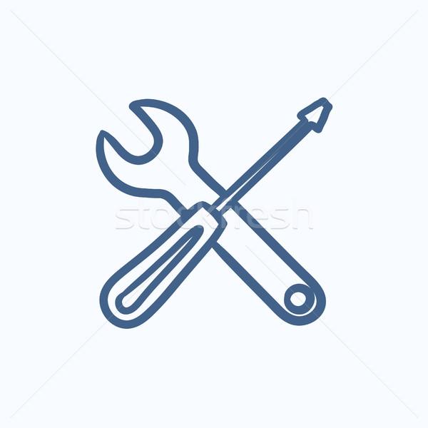 śrubokręt klucz narzędzia szkic ikona wektora Zdjęcia stock © RAStudio