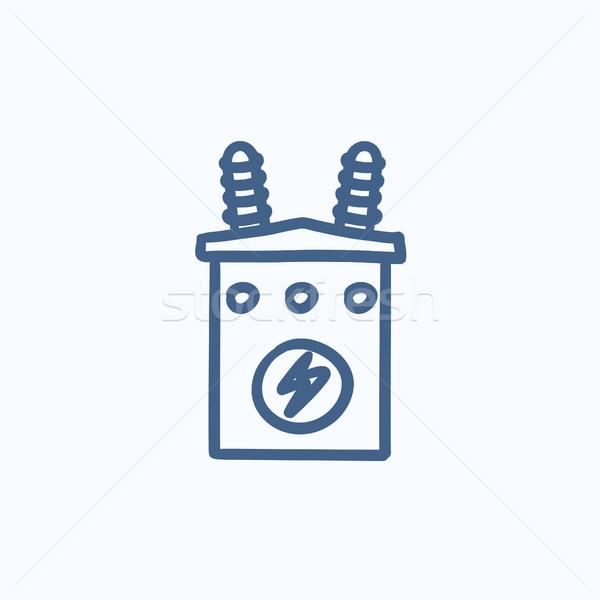 высокое напряжение трансформатор эскиз икона вектора изолированный Сток-фото © RAStudio