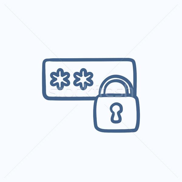 Password protected sketch icon. Stock photo © RAStudio