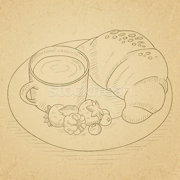 Foto stock: Desayuno · café · croissant · bayas · taza · placa
