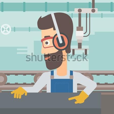 Adam çalışma Metal basın makine işçi Stok fotoğraf © RAStudio