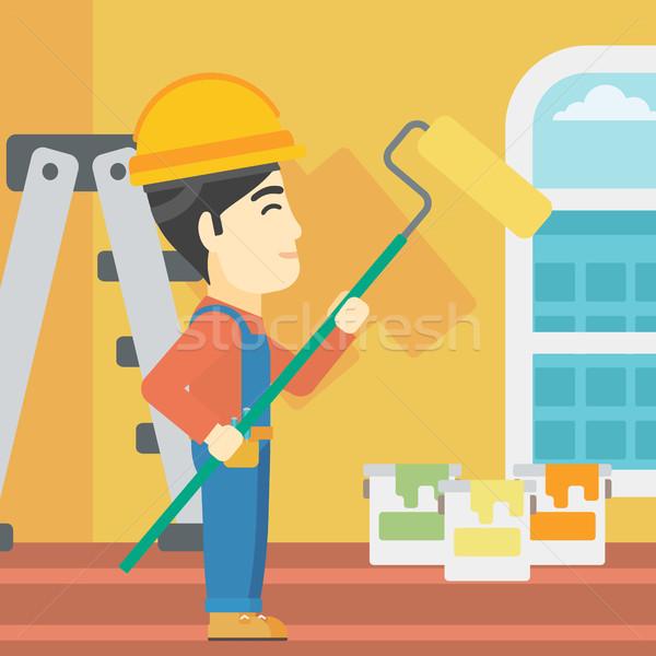 Painter with paint roller. Stock photo © RAStudio