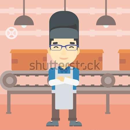 Souriant asian industrielle travailleur masque Photo stock © RAStudio