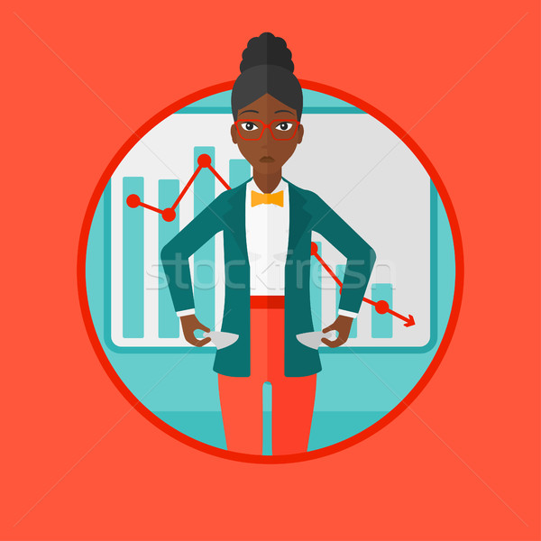Bancrupt business woman vector illustration. Stock photo © RAStudio