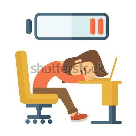 Moe werknemer jonge vergadering tabel laag Stockfoto © RAStudio