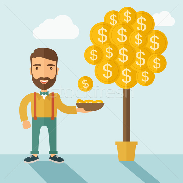 ストックフォト: お金 · 成長 · 木 · 白人 · あごひげ · 男