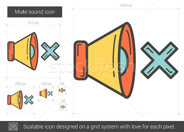 Silenciar sonido línea icono vector aislado Foto stock © RAStudio