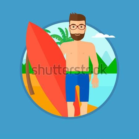 Szörfös szörfdeszka tengerpart fiatal áll profi Stock fotó © RAStudio