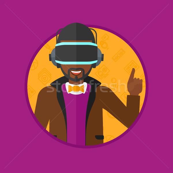 Stockfoto: Man · virtueel · realiteit · hoofdtelefoon · afrikaanse