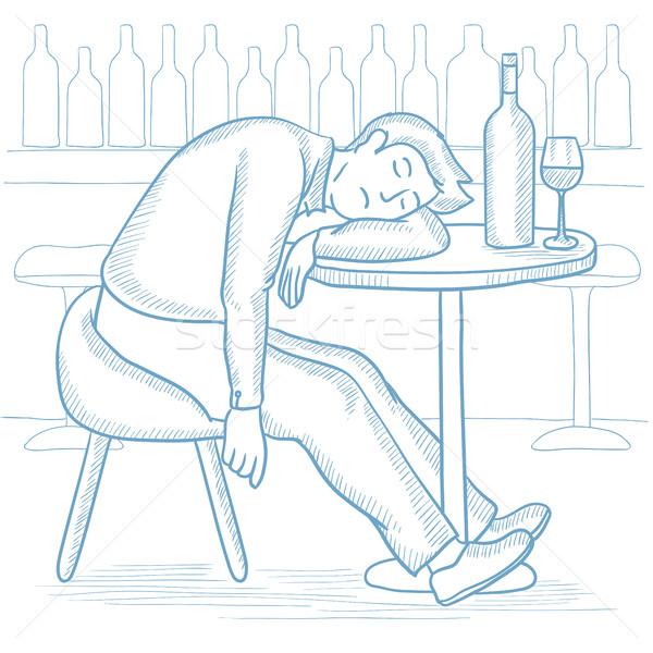 Bêbado homem adormecido bar caucasiano garrafa Foto stock © RAStudio