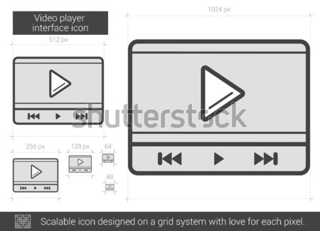 Stock photo: Video player interface line icon.