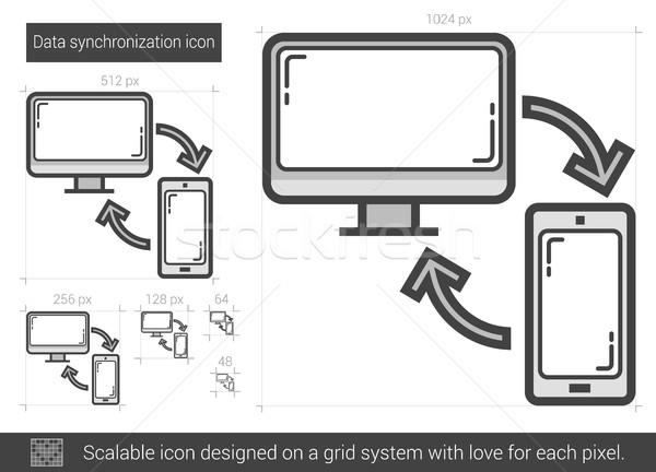 Data synchronization line icon. Stock photo © RAStudio