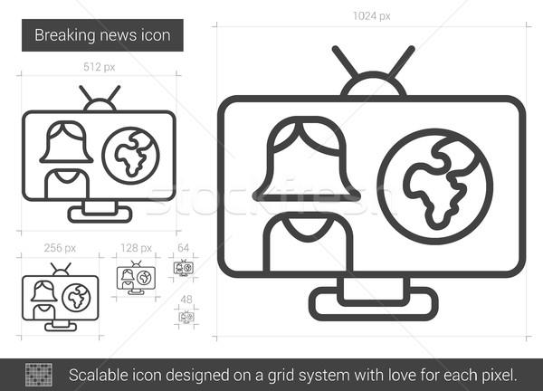 Stockfoto: Breaking · news · lijn · icon · vector · geïsoleerd · witte