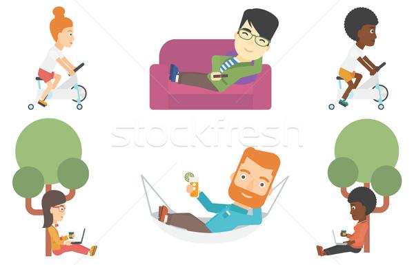 Stock fotó: Vektor · szett · üzlet · betűk · diák · laptop