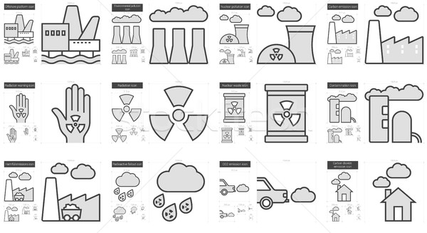 Ecology biohazard line icon set. Stock photo © RAStudio