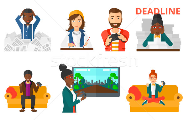 Vector set of business character and people gaming Stock photo © RAStudio
