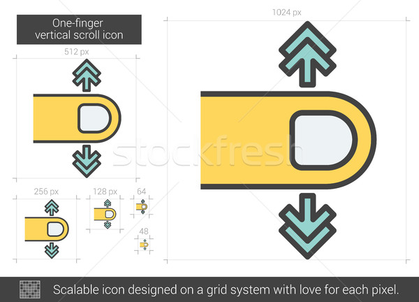Stock photo: One-finger vertical scroll line icon.