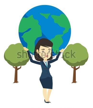 Zakenvrouw wereldbol groot aarde hoofd Stockfoto © RAStudio