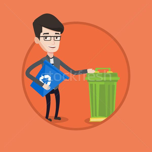человека Recycle мусорное ведро молодым человеком Сток-фото © RAStudio