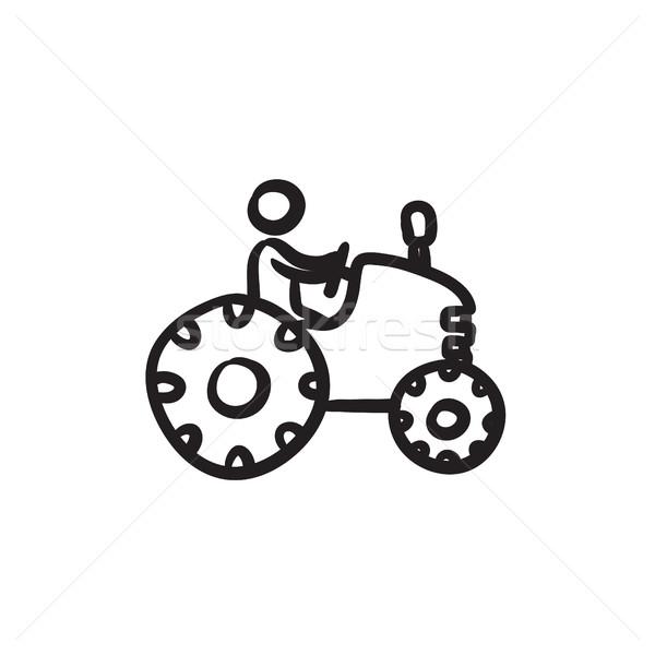 Drawing Man On Tractor : Man · rijden trekker schets icon vector