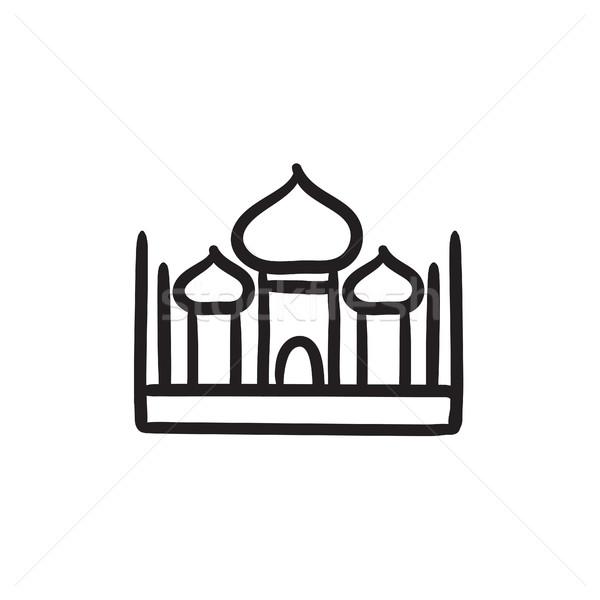 Mecset rajz ikon vektor izolált kézzel rajzolt Stock fotó © RAStudio