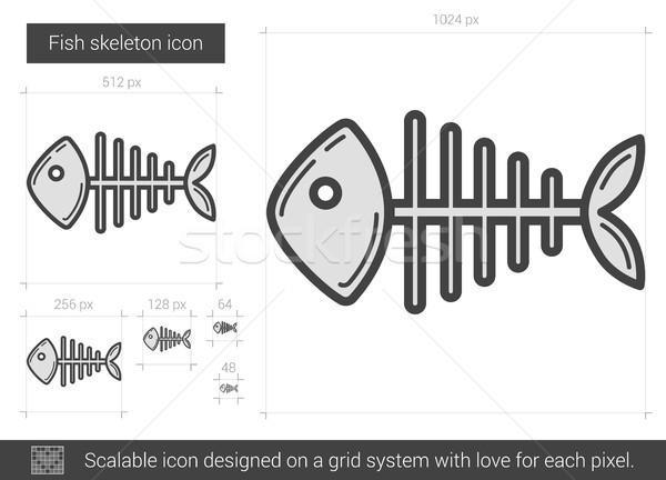 Hal csontváz vonal ikon vektor izolált Stock fotó © RAStudio