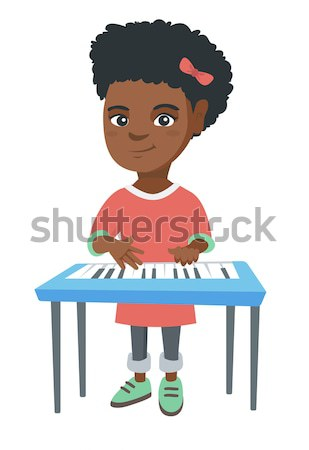 Nő játszik zongora női zongorista fiatal Stock fotó © RAStudio