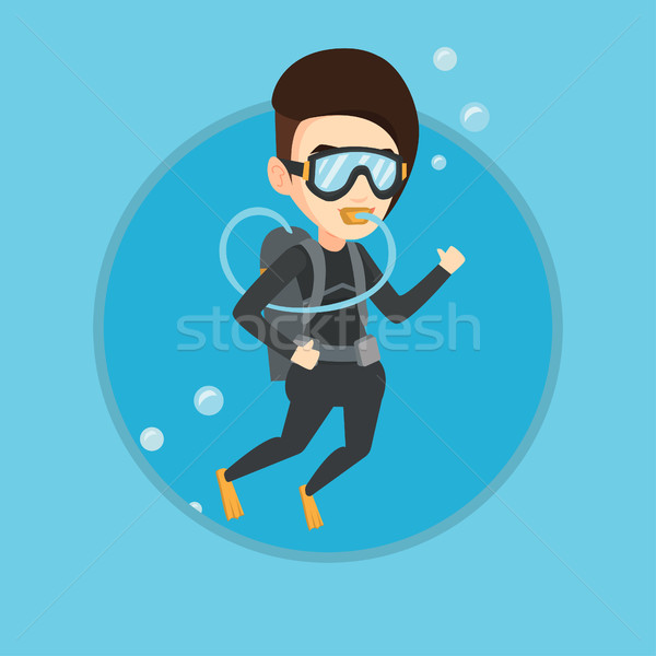 Woman diving with scuba and showing ok sign. Stock photo © RAStudio