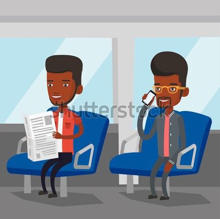 Mensen openbaar vervoer man telefoon lezing Stockfoto © RAStudio