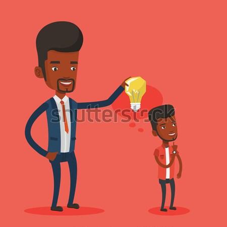 ストックフォト: ビジネスマン · アイデア · 電球 · パートナー · 男