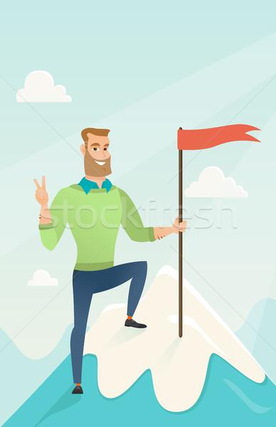 Leistung Business Ziel Geschäftsmann erreicht Flagge Stock foto © RAStudio