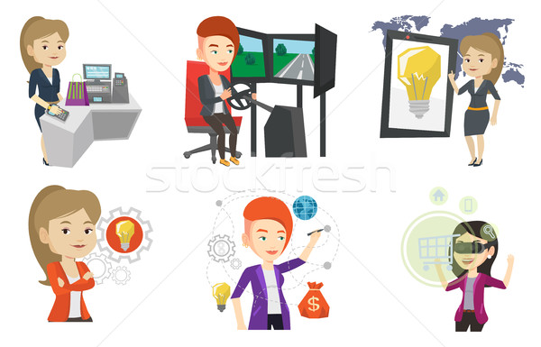 Stock photo: Vector set of people using modern technologies.