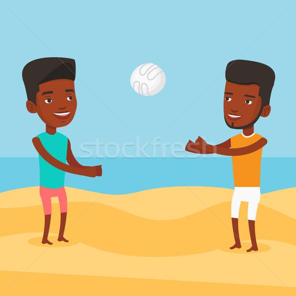 二人の男性 演奏 ビーチ バレーボール 小さな 男 ストックフォト © RAStudio