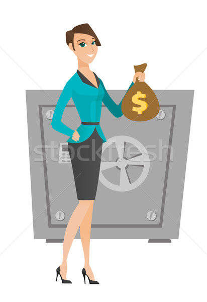 Stock photo: Caucasian business woman holding a money bag.
