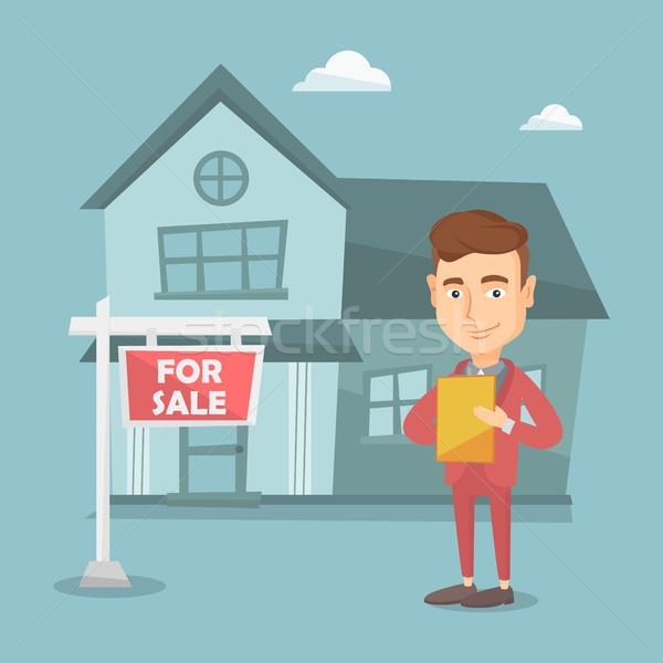 Makelaar ondertekening contract gelukkig home kopen Stockfoto © RAStudio