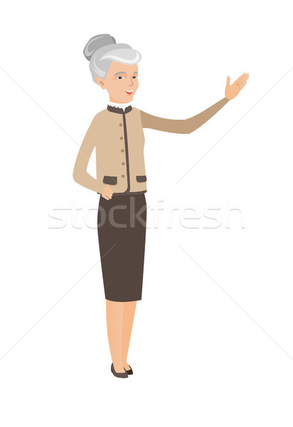 ストックフォト: 白人 · ビジネス女性 · 手 · シニア · 立って