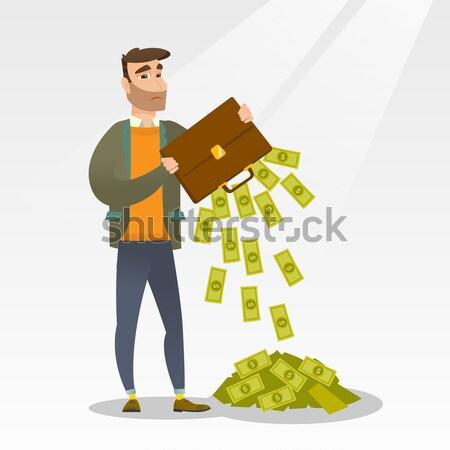 из деньги портфель депрессия кавказский Сток-фото © RAStudio